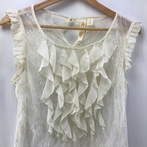 Lace See Through Off White Blouse